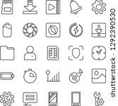 thin line icon set   mobile... | Shutterstock .eps vector #1292390530