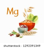 magnesium in food. natural... | Shutterstock .eps vector #1292391349
