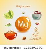 magnesium in food. natural... | Shutterstock .eps vector #1292391370