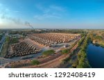 aerial view from drone trucks... | Shutterstock . vector #1292408419