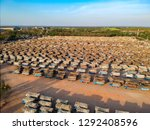 aerial view from drone trucks... | Shutterstock . vector #1292408596