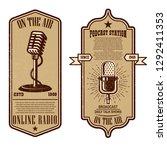set of vintage podcast  radio... | Shutterstock .eps vector #1292411353