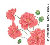 hand drawn floral background... | Shutterstock . vector #1292415079