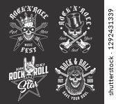 set of rock and roll emblems in ... | Shutterstock . vector #1292431339