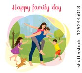 happy family day cartoon vector ... | Shutterstock .eps vector #1292445013