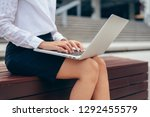 businesswoman hand typing... | Shutterstock . vector #1292455579