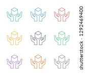 handle with care icon white... | Shutterstock .eps vector #1292469400