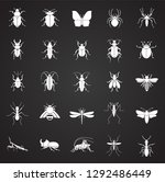 insects icons set on black... | Shutterstock .eps vector #1292486449