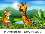 cartoon beautiful nature with... | Shutterstock . vector #1292491039