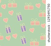 seamless pattern with valentine ... | Shutterstock .eps vector #1292491750