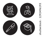 4 linear vector icon set  ... | Shutterstock .eps vector #1292496193