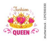 fashion queen print template.... | Shutterstock .eps vector #1292500330