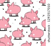 happy pigs  hand drawn backdrop.... | Shutterstock .eps vector #1292517010