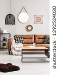 brown leather couch with...   Shutterstock . vector #1292524030