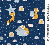 seamless childish pattern with... | Shutterstock .eps vector #1292531689