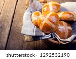 hot cross buns on basket top... | Shutterstock . vector #1292532190