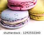 colorful french macarons or... | Shutterstock . vector #1292532340