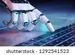 robotic cyborg hand pressing a... | Shutterstock . vector #1292541523
