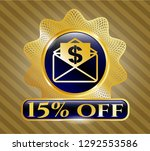 gold shiny badge with envelope ...   Shutterstock .eps vector #1292553586