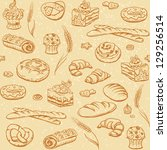 bakery seamless background with ... | Shutterstock .eps vector #129256514