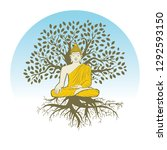 buddha and tree of life  logo... | Shutterstock .eps vector #1292593150