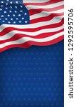 closeup american flag on starry ... | Shutterstock . vector #1292595706
