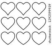 set outline heart shape icon ... | Shutterstock .eps vector #1292599939
