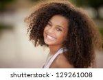 happy smiling african descent...   Shutterstock . vector #129261008