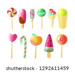 set of bright vector candies ... | Shutterstock .eps vector #1292611459