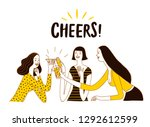 girls drinking at the bar.... | Shutterstock .eps vector #1292612599