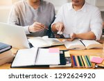 two students studying and... | Shutterstock . vector #1292624920
