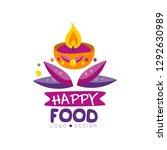happy food logo design for... | Shutterstock .eps vector #1292630989