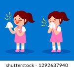 sneeze little girl cartoon... | Shutterstock .eps vector #1292637940