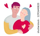 young couple in love  the guy... | Shutterstock .eps vector #1292640820