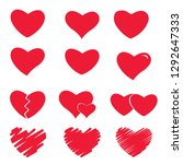 icon set of red heart .painted... | Shutterstock .eps vector #1292647333