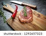 raw meat  beef steak with spice ... | Shutterstock . vector #1292657323
