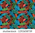 trendy summer tropical leaves... | Shutterstock .eps vector #1292658739