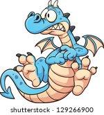 cartoon scared blue dragon....   Shutterstock .eps vector #129266900