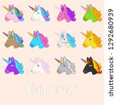 set of outline vector unicorn... | Shutterstock .eps vector #1292680939