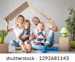happy family with two kids... | Shutterstock . vector #1292681143