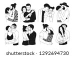 set of romantic couples... | Shutterstock . vector #1292694730