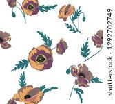 seamless pattern with  poppy... | Shutterstock .eps vector #1292702749