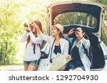 travel group asian woman... | Shutterstock . vector #1292704930