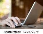 mouse click  woman hand with... | Shutterstock . vector #129272279