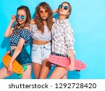 three young stylish smiling... | Shutterstock . vector #1292728420