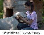 girl brunette teenager with a... | Shutterstock . vector #1292741599