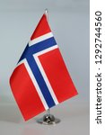 table flag of norway  flagpole. | Shutterstock . vector #1292744560