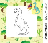 cute dino coloring page. | Shutterstock .eps vector #1292748310