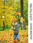 cute little boy playing with... | Shutterstock . vector #1292752783