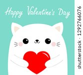 happy valentines day. white cat ...   Shutterstock .eps vector #1292766076